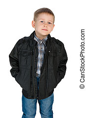 Confident little boy in a jacket