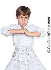 Confident little boy in kimono