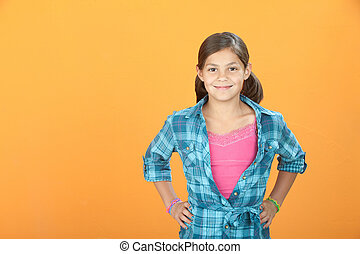 Confident Little Girl - Confident Young Hispanic girl on...