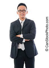 confident looking malay business man isolated on white background