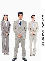 Confident looking sales team