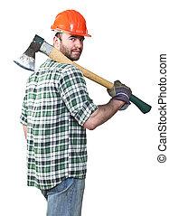 confident lumberjack - portrait of caucasian standing young...