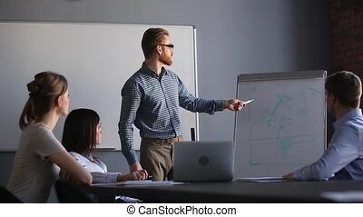 Confident male business speaker trainer giving corporate...