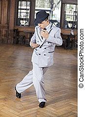 Confident Male Dancer Performing Tango