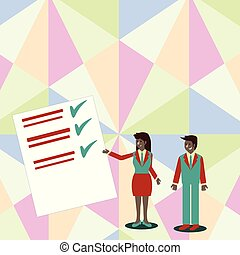 Confident Man and Woman in Business Suit Standing, Gesturing and Presenting Data Report on Color Board. Creative Background Idea for Event Announcement and Financial Presentation.