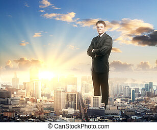 Confident man standing in city