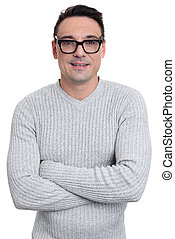 confident man wearing glasses with arms crossed. Isolated