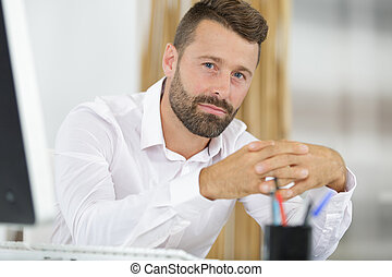 confident man working in the office