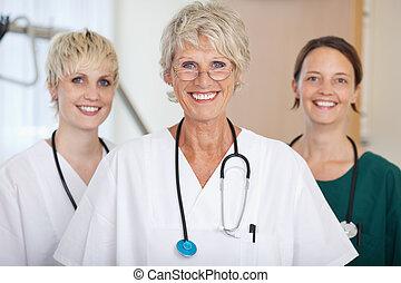 Confident Medical Team Of Female Doctors Smiling
