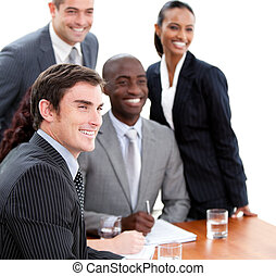Confident multi-ethnic business people in a meeting....