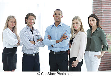 confident multiethnic business team .the concept of teamwork