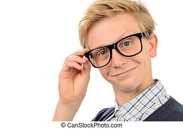 Blonde teen nerdy glasses pity