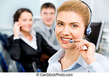 Confident operator - Closeup of smiling beautiful business...