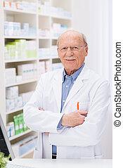 Confident pharmacist in the pharmacy