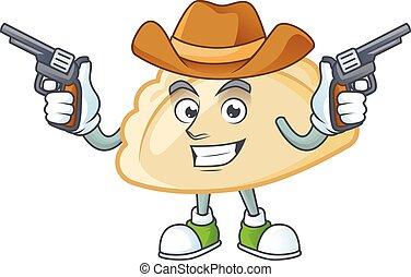 Confident pierogi Cowboy cartoon character holding guns