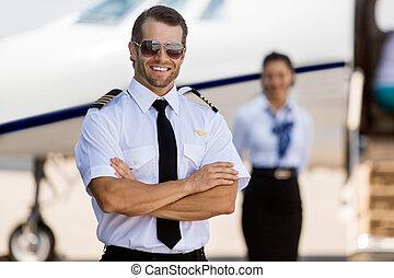 Confident Pilot Against Stewardess And Private Jet -...
