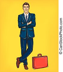 Confident pop art man in a suit