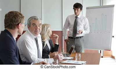 Confident presentation - Confident business worker...