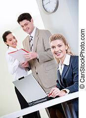 Confident receptionist
