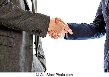 Confident relaxed businessman shaking hands