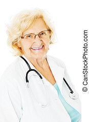 Confident Senior Doctor Over White Background
