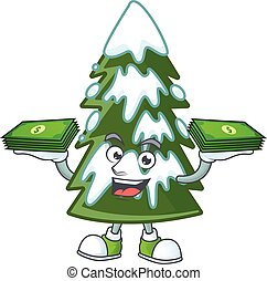 Confident smiley christmas tree snow character with money on hand
