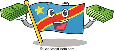 Confident smiley flag democratic republic character with money bag