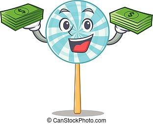 Confident smiley lollipop character with money bag