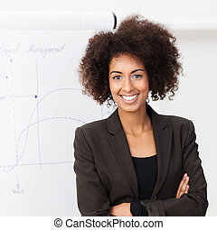 Confident smiling African American woman with a wild afro hairstyle standing with folded arms looking at the camera with a friendly smile