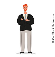 Confident smiling businessman is standing with crossed arms. Office worker or entrepreneur character design isolated on white background, vector cartoon illustration