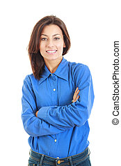 Confident smiling woman in blue blouse with crossed arms
