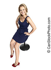 Confident Smiling Woman Sitting on Stool