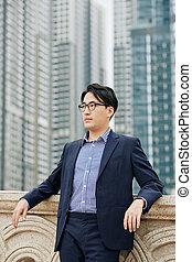 Confident successful businessman