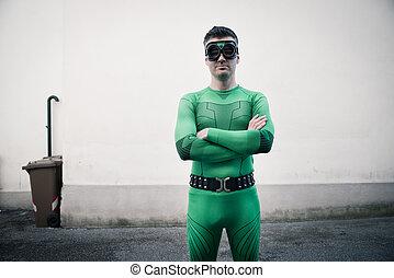 Confident superhero in the street
