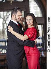 Confident Tango Dancer Performing With Male Partner
