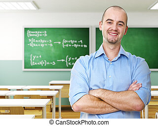 confident teacher - confident young caucasian teacher in a...