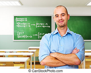confident young teacher in classroom 3d background