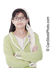 Confident, unsmiling girl in green sweater and glasses