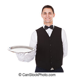 Confident Waiter Holding Empty Tray