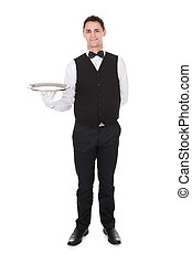Confident Waiter Holding Empty Tray