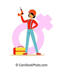 Confident woman in orange helmet holding a drill, female taking on traditional male rolecolorful character vector Illustration