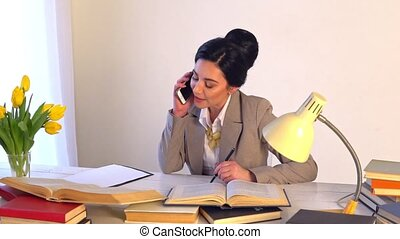 Confident woman in spectacles skilled office manager with...