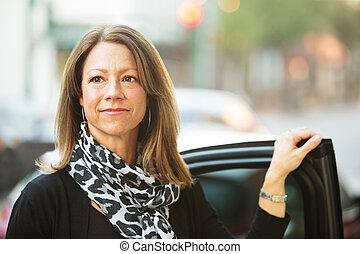 confident woman near car confident european business woman standing near car door picture csp29665212