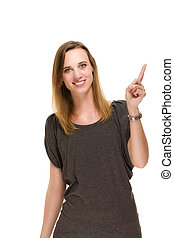 confident woman pointing her finger on white background