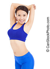 confident woman warm up her arm and body