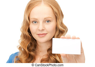 confident woman with business card