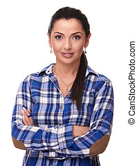 confident woman with hands folded isolated