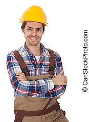 Confident worker wearing hard hat