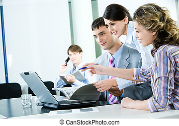 Confident workers - Business-team of several workers looking...