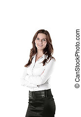 confident young business woman isolated on white background